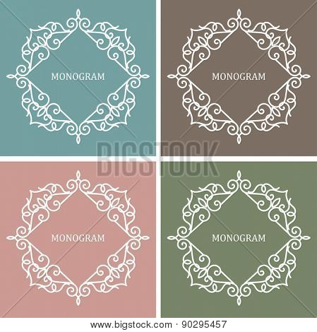 Monogram Design Frame. Line Art Label with Copy Space for Text.