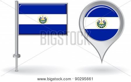 El Salvador pin icon and map pointer flag. Vector