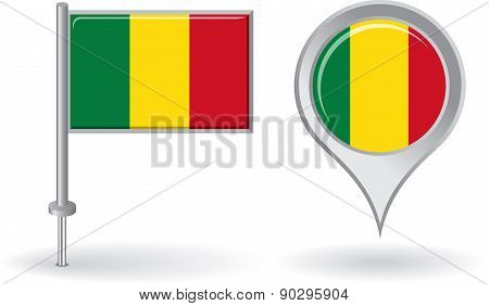 Malian pin icon and map pointer flag. Vector
