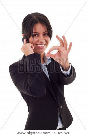 Woman With Phone And Ok Sign