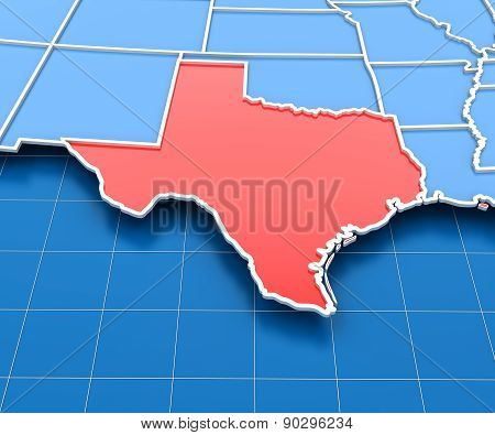 3d render of USA map with Texas state highlighted