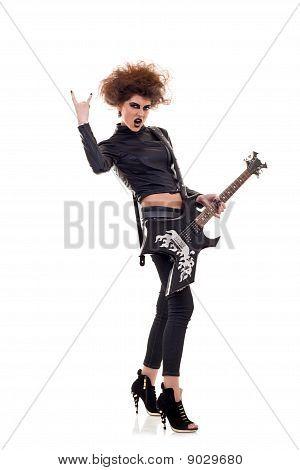 Energic Woman Playing Guitar