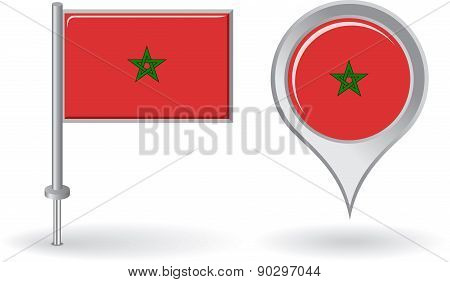 Morocco pin icon and map pointer flag. Vector