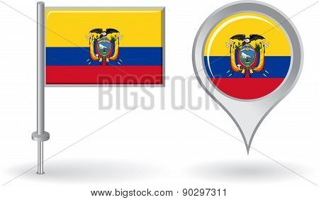 Ecuadorian pin icon and map pointer flag. Vector