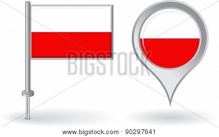 Polish pin icon and map pointer flag. Vector