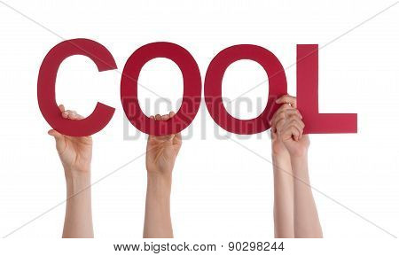 Many People Hands Holding Red Straight Word Cool