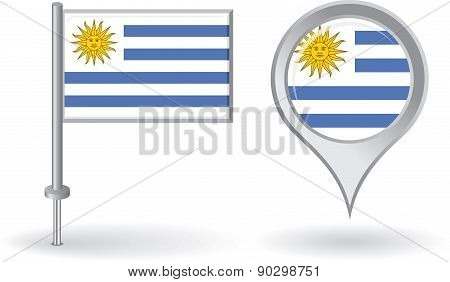 Uruguayan pin icon and map pointer flag. Vector