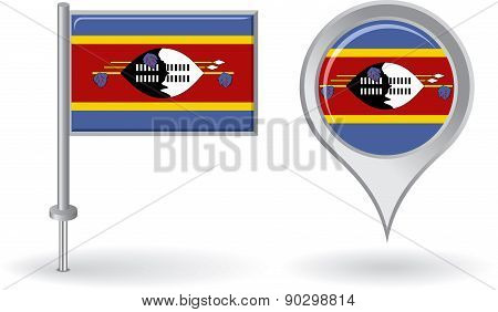 Swaziland pin icon and map pointer flag. Vector