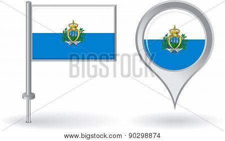 San Marino pin icon and map pointer flag. Vector