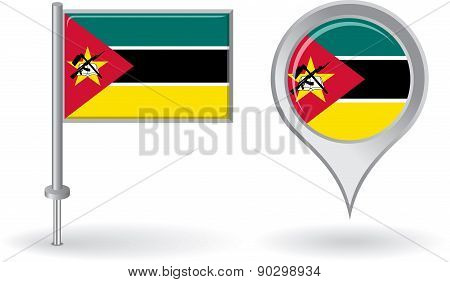 Mozambique pin icon and map pointer flag. Vector
