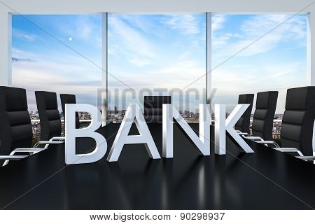 White Bank Logo Standing On Office Conference Desk Skyline