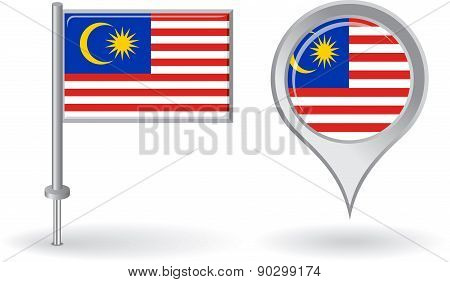 Malaysian pin icon and map pointer flag. Vector