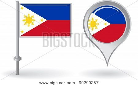 Philippines pin icon and map pointer flag. Vector