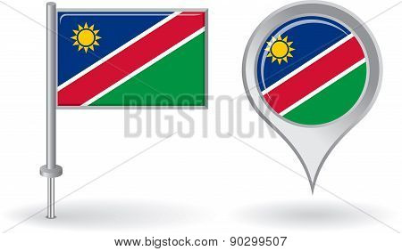 Namibian pin icon and map pointer flag. Vector