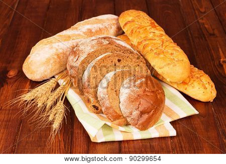 Group of bread with wheat ears
