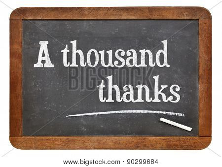 A thousand thanks. Text on a vintage slate blackboard