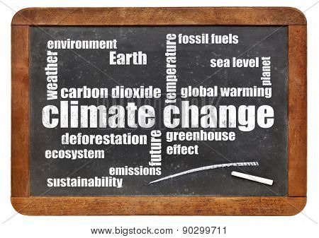 climate change word cloud on a vintage slate blackboard isolated  on white