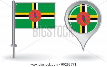 Dominica pin icon and map pointer flag. Vector