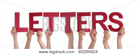 People Hands Holding Red Straight Word Letters