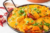 stock photo of curry chicken  - Curried Coconut Chicken with red hot chili pepper and rice - JPG