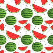 picture of watermelon slices  - Vector seamless pattern design of watermelons as whole and slices - JPG
