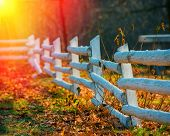 stock photo of wooden fence  - old wooden fence on the background of autumn forest - JPG