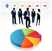 stock photo of pie chart  - a group of business people with 3d pie chart - JPG