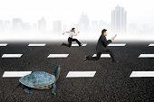 stock photo of tortoise  - Two businessmen running with turtle on asphalt road with gray urban scene skyline background - JPG