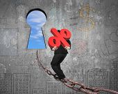 pic of keyholes  - Man carrying 3D red percentage sign walking on old iron chain toward keyhole door with sky clouds view and business concept doodles wall background - JPG