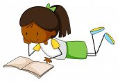 picture of storybook  - Closeup happy girl reading a storybook - JPG