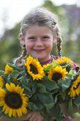 Cute Sunflower Girl poster