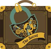 picture of steampunk  - Illustration in the style of steampunk suitcase with large suitcase padlock secret - JPG
