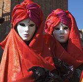 pic of mardi gras mask  - two women dressed for carnivalethe mardi gras of europe in saint marks squareveniceitaly - JPG