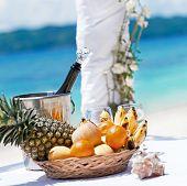 stock photo of wedding arch  - Beautiful wedding arch on tropical beach nobody - JPG