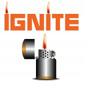 pic of ignite  - Abstract colorful background with lighter and the word ignite written with orange letters - JPG