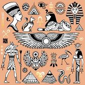 picture of hieroglyphic symbol  - Set of Vector isolated Egypt symbols and objects - JPG