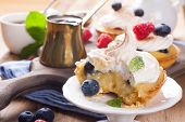 picture of curd  - Delicious homemade tartlets served with lemon - JPG