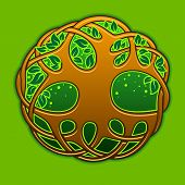 pic of celtic  - Celtic tree of life on the green background - JPG