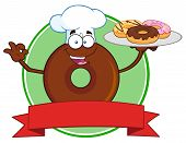 picture of donut  - Chef Chocolate Donut Cartoon Character Serving Donuts Circle Label - JPG