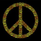 picture of peace-sign  - Colored Peace Sign formed by many small peace symbols - JPG