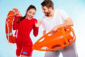 stock photo of lifeguard  - Accident prevention and water rescue - JPG