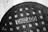 picture of manhole  - Detail of manhole cover on Chicago street texture - JPG