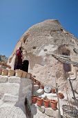 picture of cave woman  - CAPPADOCIA TURKEY  - JPG