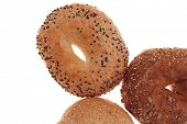 stock photo of bagel  - three different fresh bagels  isolated over white background - JPG