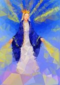 stock photo of mary  - Blessed Virgin Mary Queen in tryangle style - JPG