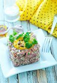 stock photo of tar  - meat tar tar with yolk on the plate - JPG