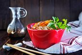 stock photo of rice noodles  - rice noodles with meat and vegetables in bowl - JPG