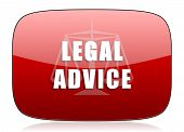stock photo of judiciary  - legal advice red glossy web icon  - JPG