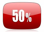 picture of 50s  - 50 percent red glossy web icon