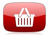 foto of cart  - cart red glossy web icon